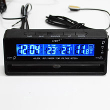 3 in 1 12-24V Digital LCD Auto Clock Thermometer Voltmeter Backlight Voltage Temperature Monitor Display Watch Car Accessories(China)
