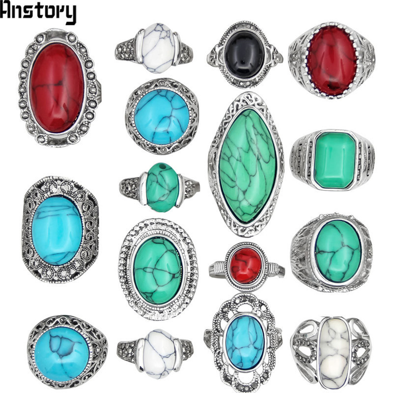 5pcs Color Design Mixed Stone Rings For Women Wholesale Lot Vintage Antique Silver Plated Fashion Jewelry TR179