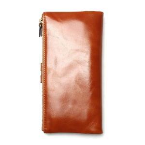 Image 2 - Portefeuilles cire dhuile pour femmes, portefeuille en cuir véritable féminin, fermeture éclair, porte monnaie à Long support pour téléphone, nouvelle mode 2020