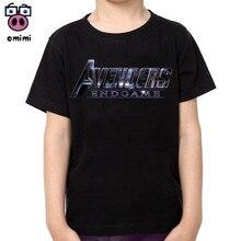 Children Avengers Endgame Cotton T-shirts Boy and Girl Short Sleeve Soft Black Tee Tops Baby Brand Clothes Boys Christmas Shirt