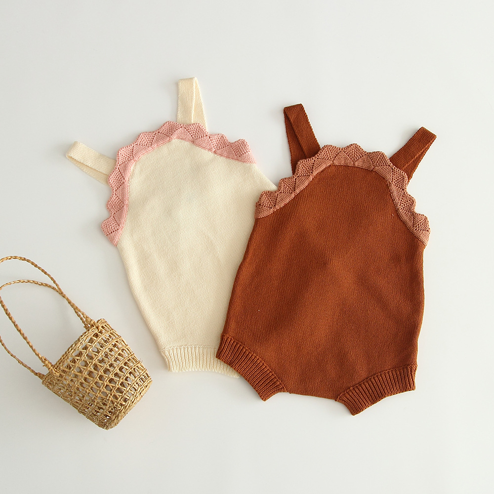 Cute Girls Baby Ruffles Patchwork Sweater Straps Rompers Newborn Infant Sweet Kids Beige Coffee Color Knitted Clothes Rompers(China)