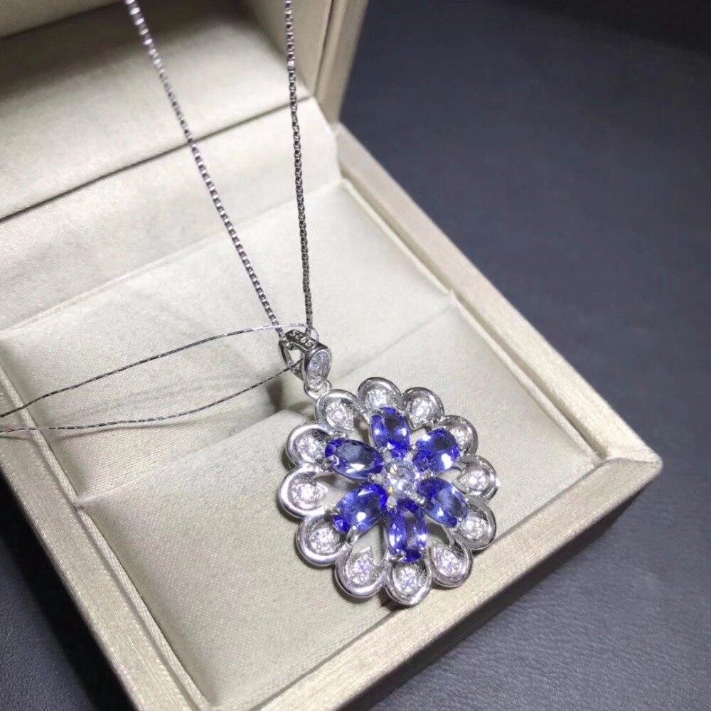 Women 925 Silver Natural Tanzanite Pendant Chain Necklace Engagement Wedding