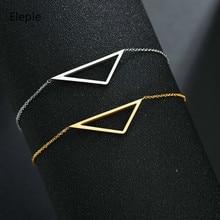 Eleple Simple Popular Triangular Hollow Stainless Steel Bracelets Womens Gold Color Link Wedding Gift Bracelet Jewelry S-b241