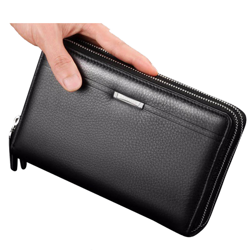 цена на Men clutch Men Purse wallet Business Long Wallets Fashion Male Zipper Purse Luxury Brand Leather Card holder purses Coin wallet