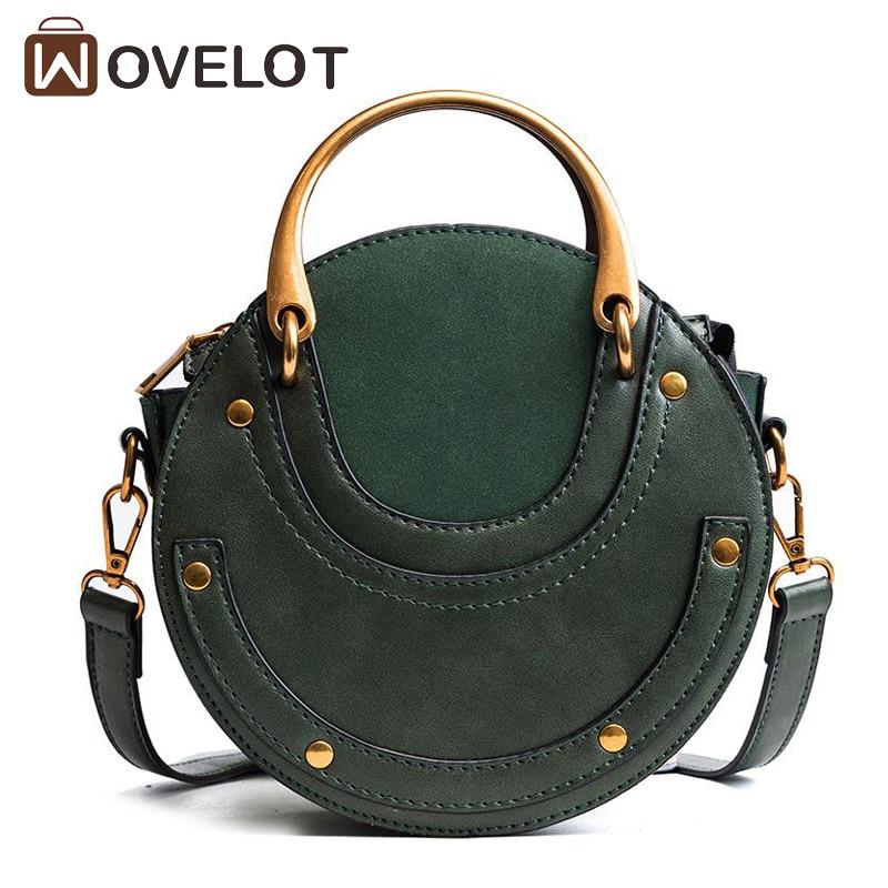 New Arrival Brand Women PU Leather Round Handbag Retro Metal Ring Small Shoulder Bags Circular Scrub Ladies Crossbody Bag все цены