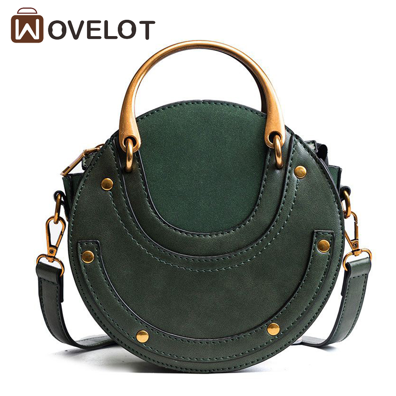 New Arrival Brand Women PU Leather Round Handbag Retro Metal Ring Small Shoulder Bags