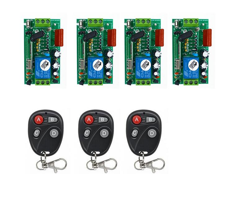 Universal 220V 1 Channel Wireless RF Remote Control Switch Relay Transmitter with 4pcs Receiver for smart home