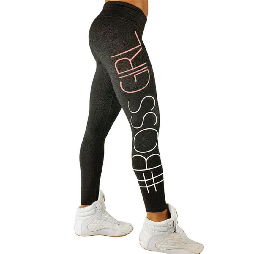 Tight Women Letter Print Sports Gym Running Fitness Leggings Pants Athletic Trouser Fitness Tights Workout Gym Running sports(China)