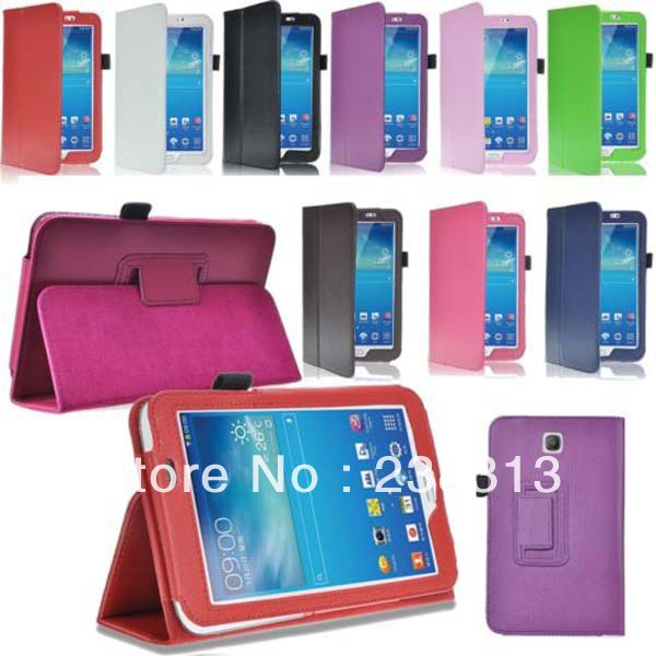 2-Folder Litchi Flip Stand PU Leather Skin Cover Funda Case For Samsung Galaxy Tab 3 7.0 T210 T211 P3200 P3210 Tablet Coque