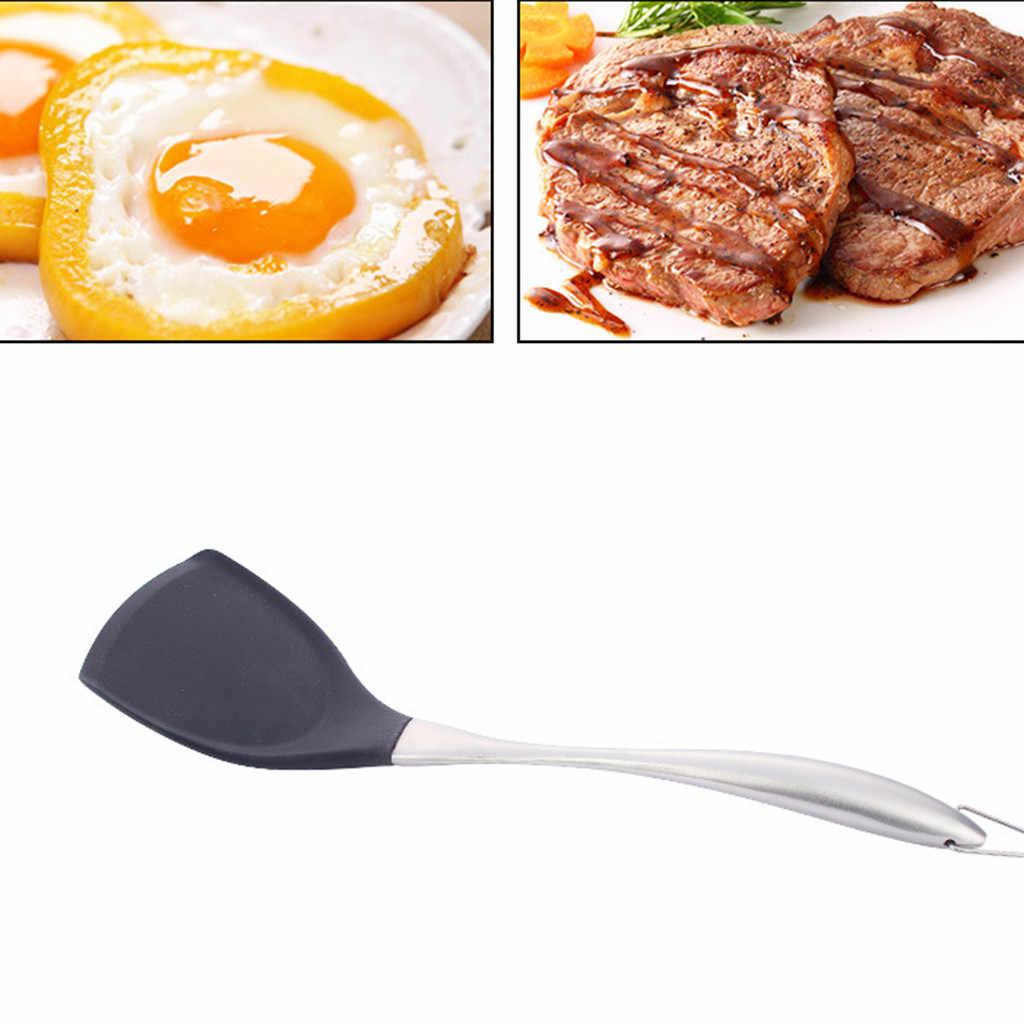 Нержавеющая сталь ручка Силиконовая кухонная посуда набор антипригарная сковорода специальная лопатка ложка прочная Нетоксичная безвредная кухонная утварь
