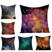 Space Starry Sky Decorative Cushion Cover Square Cotton Linen 45x45cm Cover For Bed Room Chair Sofa Throw Pillow Case e1451(China)