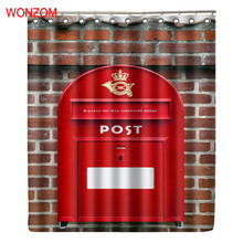 WONZOM 3D Polyester Postbox Shower Curtains with 12 Hooks For Bathroom Decor Modern Telephone Booth Bath Waterproof Curtain Gift
