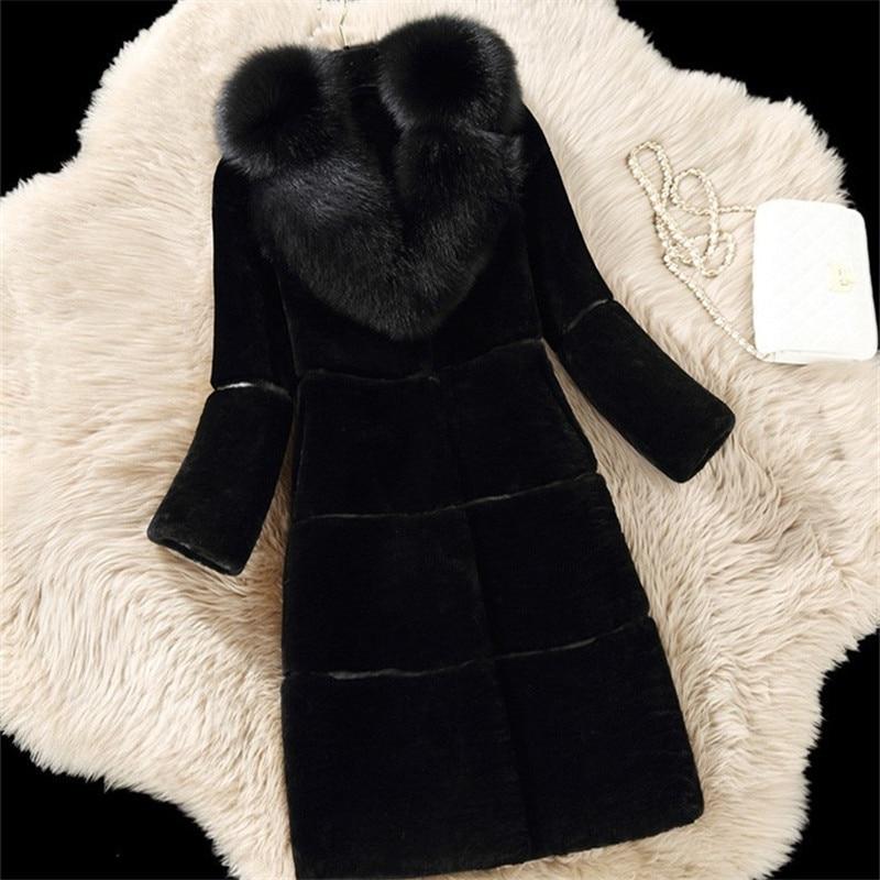 Longue Fausse Dames Mince Rouge Luxe Rouge Manteau En gris D'hiver De Noir Renard noir Imitation Y18 Gris Fourrure p0g7xqOw