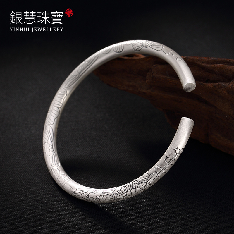 Silver Blooming Flowers Peony Lady Bracelet Wholesale Sterling Silver National Wind Restoring Ancient Ways Openings s999 fine silver lotus pisces play lady bracelet wholesale sterling silver folk style ways openings