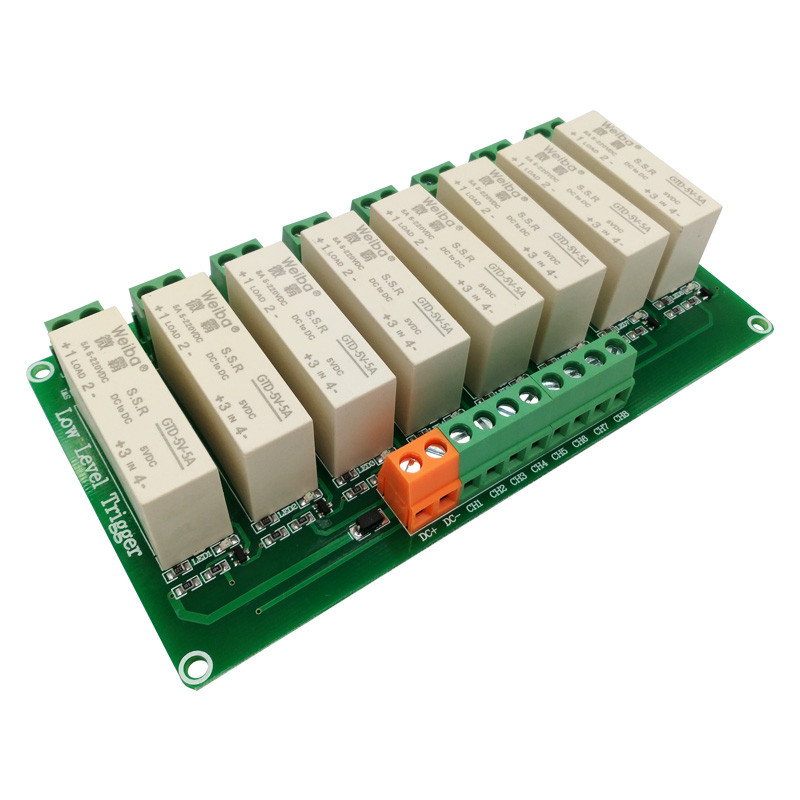 8 channel solid state relay module DC-controlled DC load 5A low-level trigger for PLC automation equipment control om zfv sc90 140605 industry industrial use automation plc module p v
