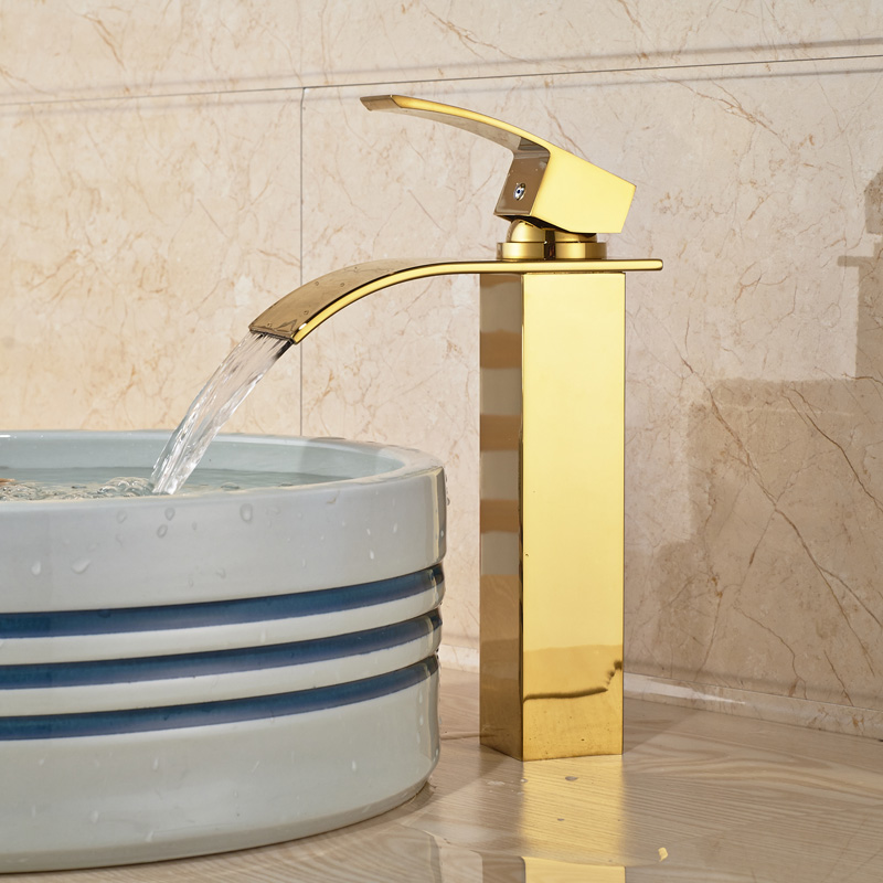 Golden Luxury Brass Vanity Sink Basin Faucet Deck Mount Golden Waterfall Hot Cold Water Taps Single Handle цена