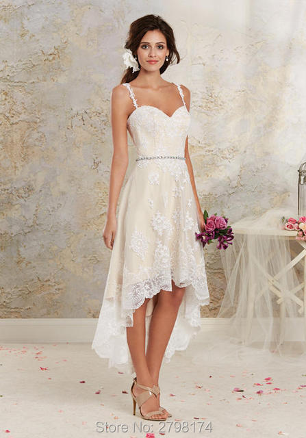 High Low Wedding Dresses Lace Short Front Long Back Dress Spaghetti Straps Bridal Gown With
