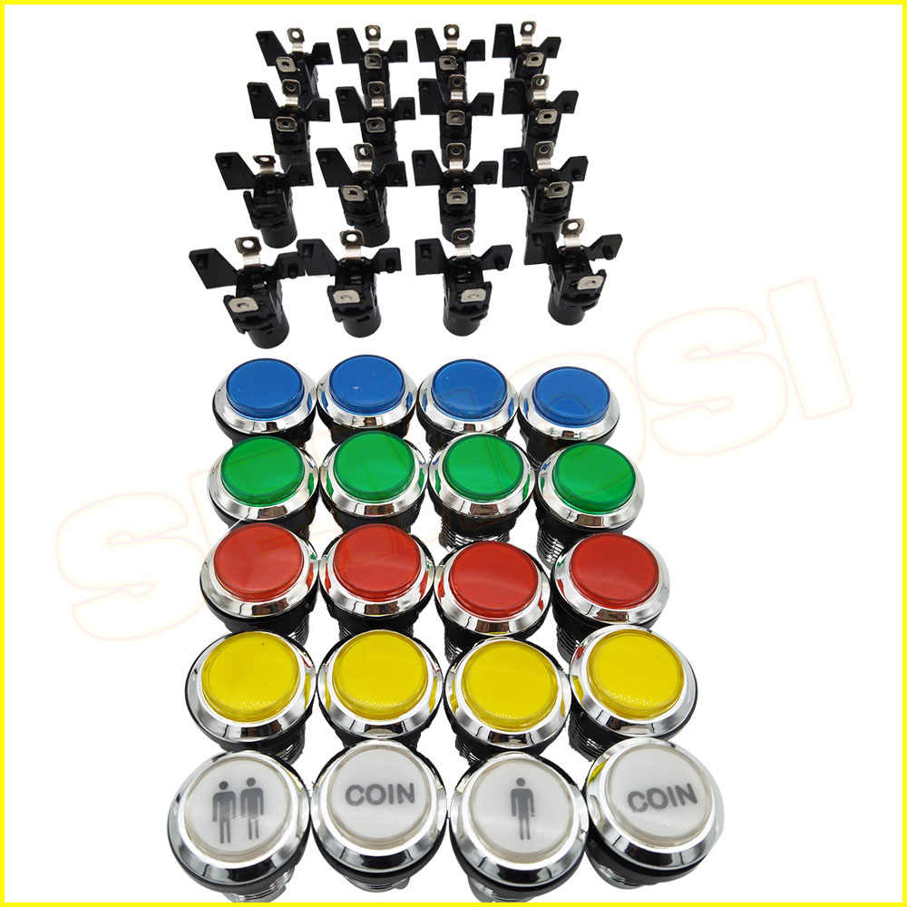 CHROME Plated illuminated 12v LED Arcade Push Button with microswitch for Game Console 1pcs