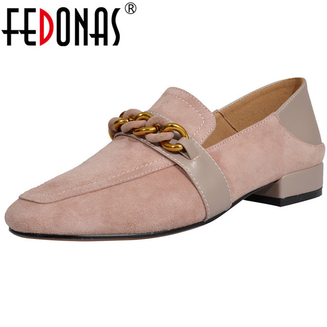 FEDONAS Brand Women Suede Leather High Heels Pumps Elegant Classic Design Chains Party Shoes Woman Ladies New Brogue Pumps