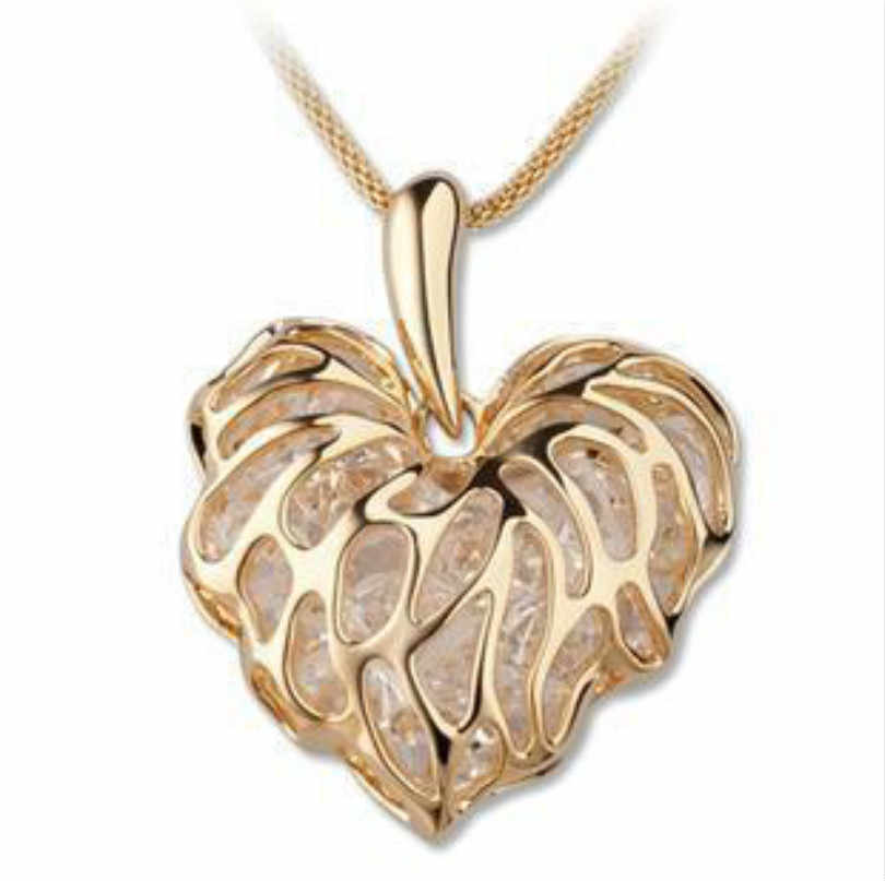 Hollow Gold Love Leaves Built-in Sparkling Zircon Sweater Chain Ornaments European And American Long Necklace Statement Necklace