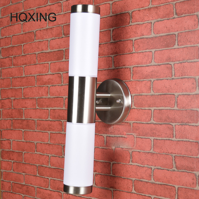 Us 47 36 26 Off Hqxing Waterproof Outdoor Lighting Stainless Steel E27 Led Wall Light Lamp Porch Lights Ac110 265v Warm White Cold In