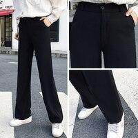 Hot Sale 2018 Korean Fashion Womens High Waist Office Pants Ladies Black Wide Leg Pants Slim