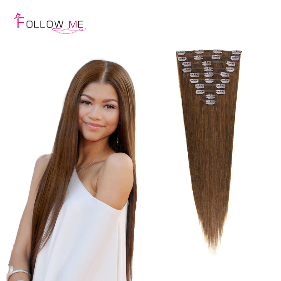 #4 Brown Brazilian Beauty Clip in Extensions 16-34 Remy Clip Hair Extensions Clip in Follow Me Remy Human Hair Full Head