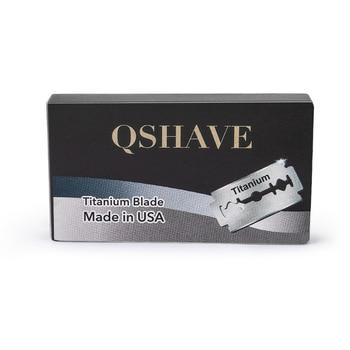 Qshave IT Safety Razor Blade Straight Razor Titanium Blade Double Edge Classic Safety Razor Blade Made in USA, 100 Blades Razor