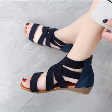 European and American Wind Summer New Roman Sandals Female Fashion Pure Color Simple Low-heeled