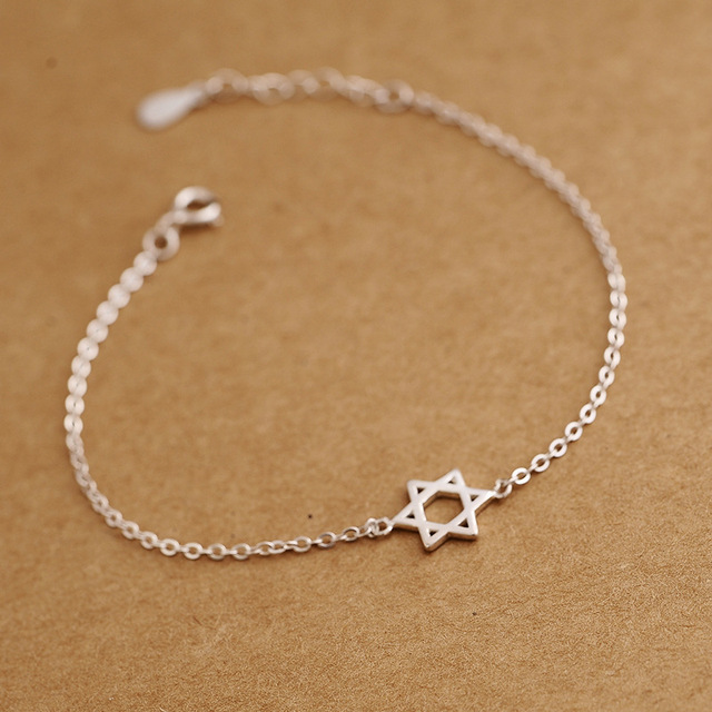 5699d377206e High quality six-pointed star Hexagram 925 Sterling Silver Female jewelry  six Star Bracelet female simple fashion gift with box