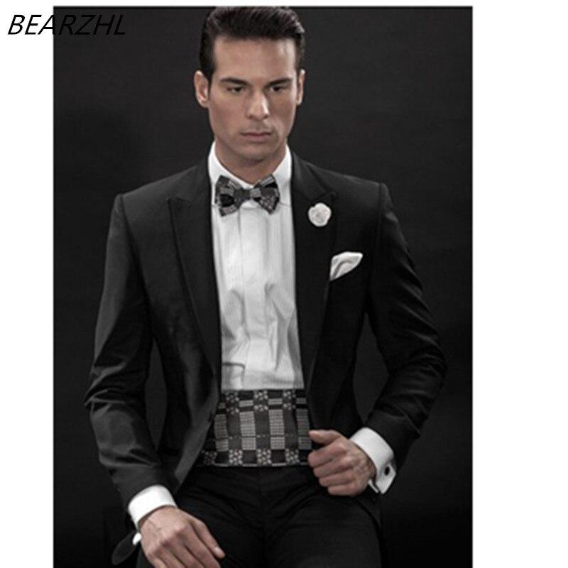 Vestito Tuxedo Abiti Uomo Fit Nero Ordine 2016 Slim Del Suit