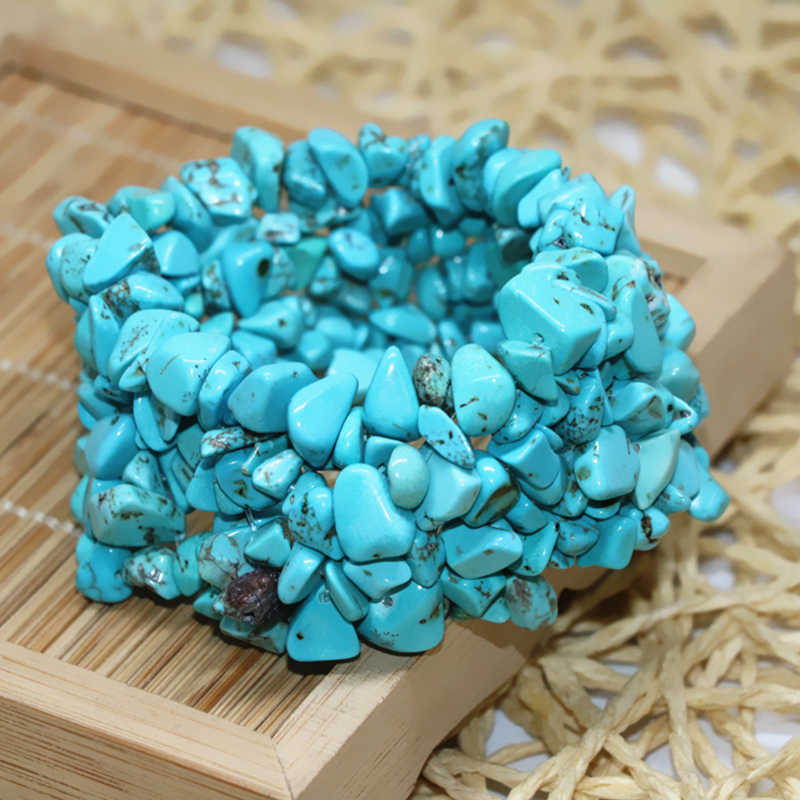 Urat biru turquoises calaite batu 9*11mm nugget chip kerikil teratur manik-manik diy new fashion gelang bangle 7.5 inch B523