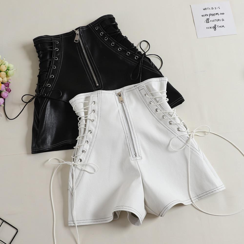 MUMUZI Zipper Shorts Black Female High-Waist Fashion Casual New Autumn Front Simple-Design