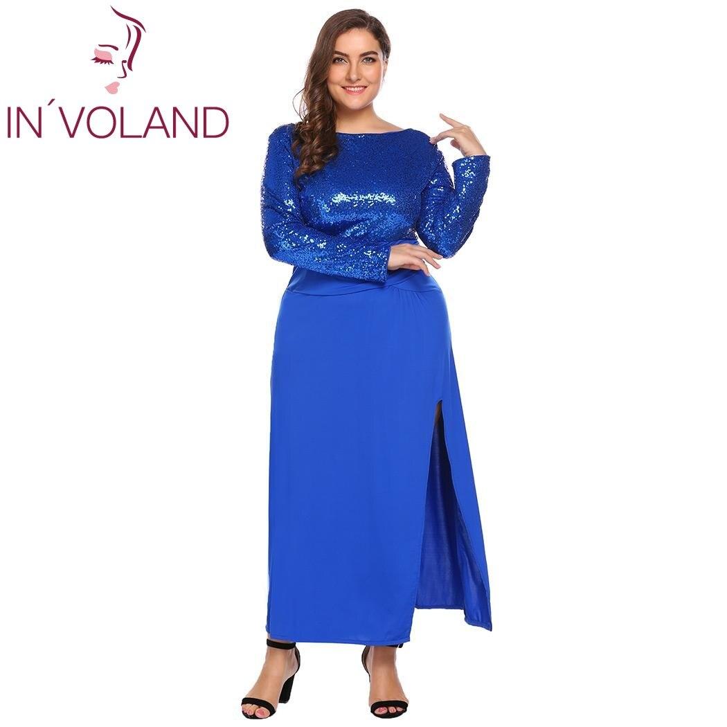 3804dbb87cc IN VOLAND Women s Sequined Dress Plus Size XL-4XL Autumn Patchwork Long  Sleeve Backless Split Party Maxi Large Dresses Plus Size
