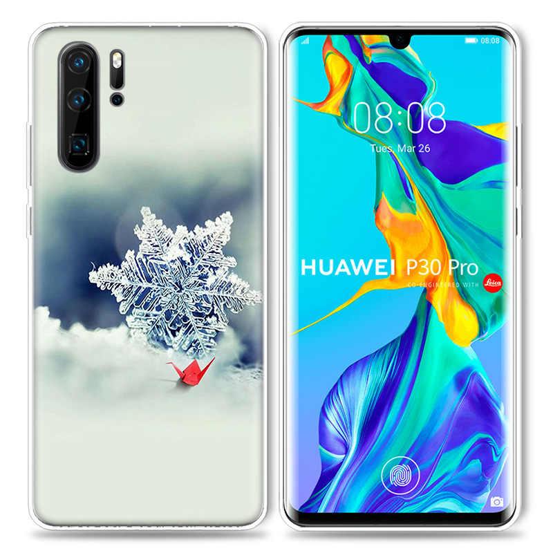 Christmas Snowflake Case for Huawei P20 P30 P Smart Z Plus 2019 P10 P9 P8 Mate 10 20 lite Pro Mini 2017 Silicone Phone Bags Capa