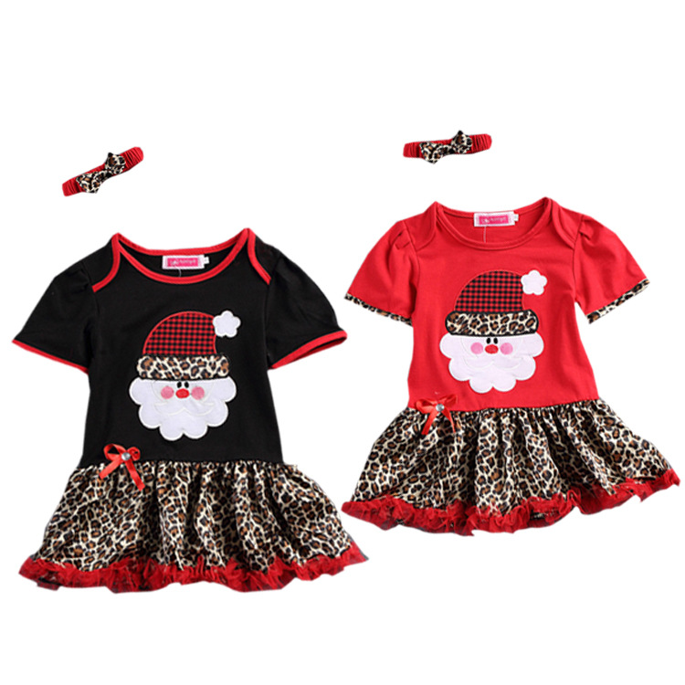 &E-babe&Wholesale children's clothing baby girls Christmas Santa Claus Leopard tutu dress +headband free shipping red black