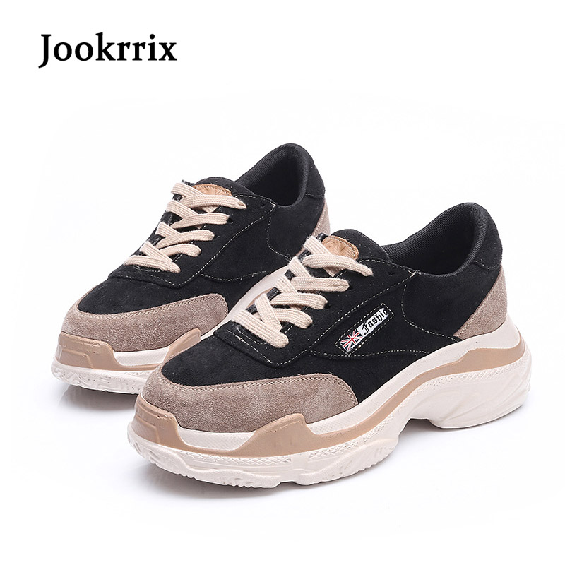 Jookrrix 2018 Spring New Fashion Brand Lady Casual Platform Shoe Women Shoe Real Leather Girl Leisure Sneaker Breathable Lace Up