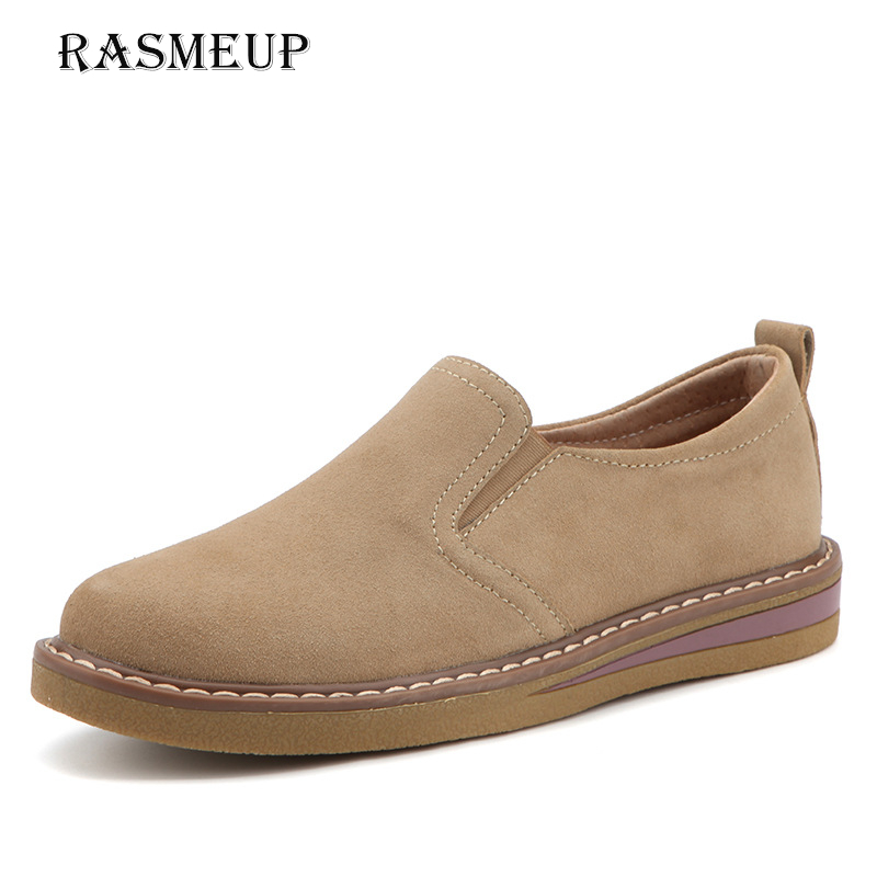 RASMEUP   Leather     Suede   Women's Oxford Shoes 2018 Autumn Comfort Slip On Women Sneakers Ladies Boat Shoes Woman Flats Moccasins