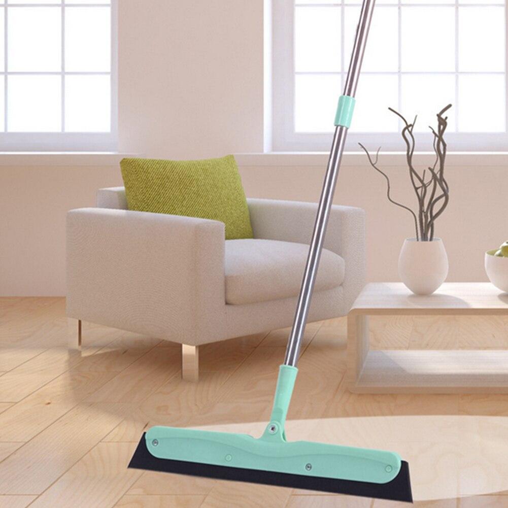 Verde Mop piso de la escobilla de goma con mango de acero inoxidable eliminación de agua cabello y polvo herramienta de limpieza del hogar ventana Cleanner