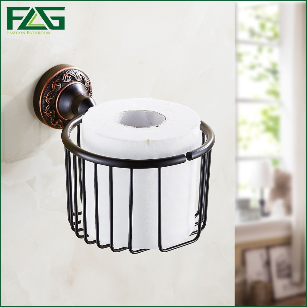 FLG Free Shipping Wholesale And Retail Oil Rubbed Bronze Black Bathroom Toilet Paper Holder Rack Tissue Baskets Wall Mount 91313 oil rubbed bronze toilet paper holder wall mount tissue box
