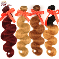 Burgundy Bundles 99J Hair Honey Blonde Red Hair Bundles Brazilian Body Wave Bundle Deals Jet Black Human Hair Pinshair Non Remy