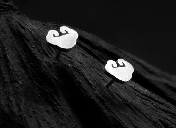 ZTUNG  LSC42 women fine jewelry,925 silver  auspicious clouds ear stud, fashion  Chinese element jewelryZTUNG  LSC42 women fine jewelry,925 silver  auspicious clouds ear stud, fashion  Chinese element jewelry