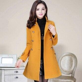 De Grande Camel Marque jaune Mode Femmes rouge D'hiver light Long D'extérieur Taille Vêtements Bouton Manteau Navy Laine Printemps Double Solide dYOHAxwqTT