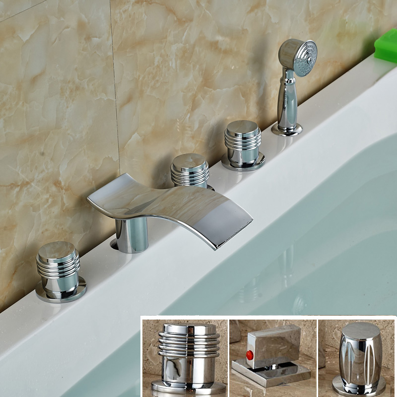 Modern Deck Mounted Side Bath Tub Faucet Widespread 5 Holes Hot And Cold Tub Mixer Taps With Handheld Shower