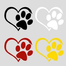 newNew Dog Heart Shape Pattern Paws Car Sticker Footprint Reflective Auto Waterproof Sun Resistant Window Sheeting 3D Decal(China)