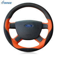 smRKE For Ford Focus 2011 2014 Steering Wheel Cover DIY Hand stitched Car Interior Case Top Leather