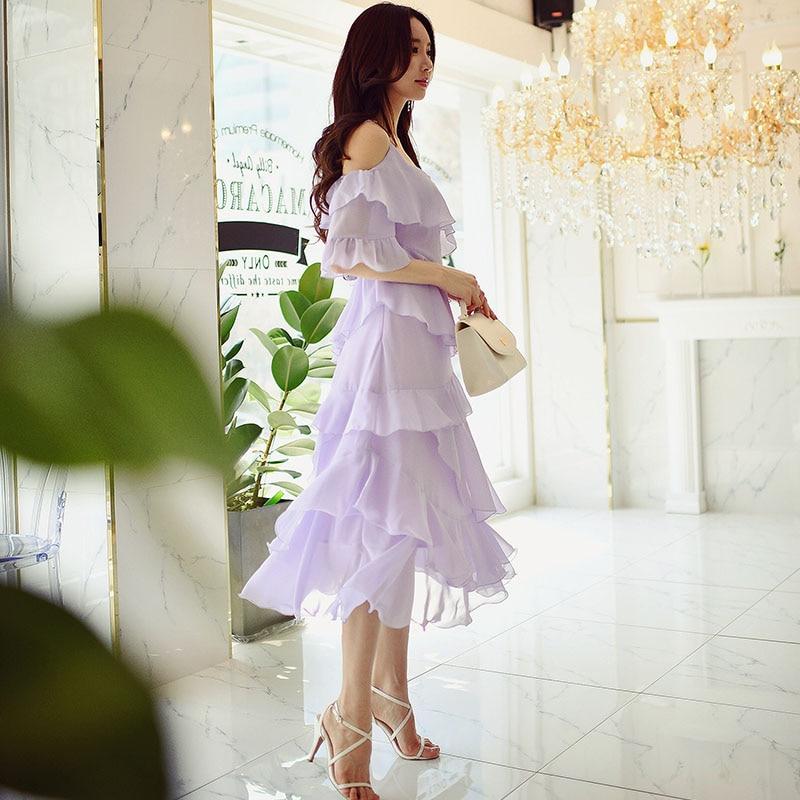 Оригинал 2017 бренд Vestidos рюшами с расклешенными рукавами Сладкий светло фиолетовый длинные праздничное платье Для женщин