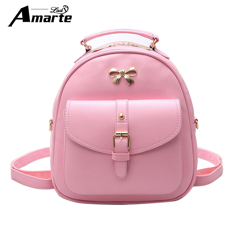 Amarte Women School Bag Girls Fashion Backpacks PU Leather Female Candy Colors Rucksack Shoulder Bags Cute