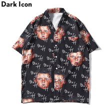 Dark Icon Bluff Boy Full Printing Hip Hop Shirt Street Summer Short Sleeved Mens Shirts Streetwear Clothing