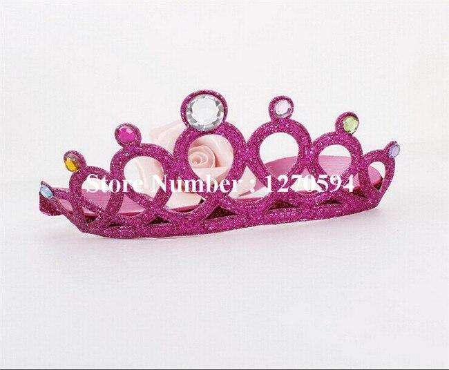 10 шт./лот корона для девочек повязка на голову, с блестками тиара на голову с украшением в виде кристаллов детский ободок для дня рождения; Мода для девочек; эластичная повязка на голову - Цвет: rose red
